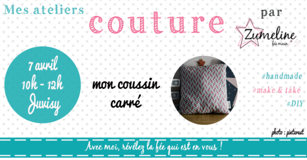 atelier couture juvisy essonne coussin carre passepoil
