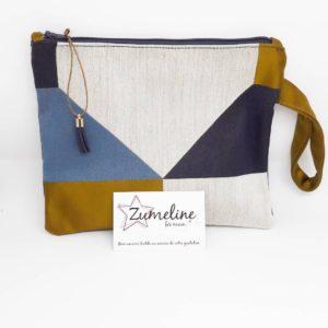 pochette zipee femme fait main juvisy essonne zumeline pampille geométrique bleu beige marron