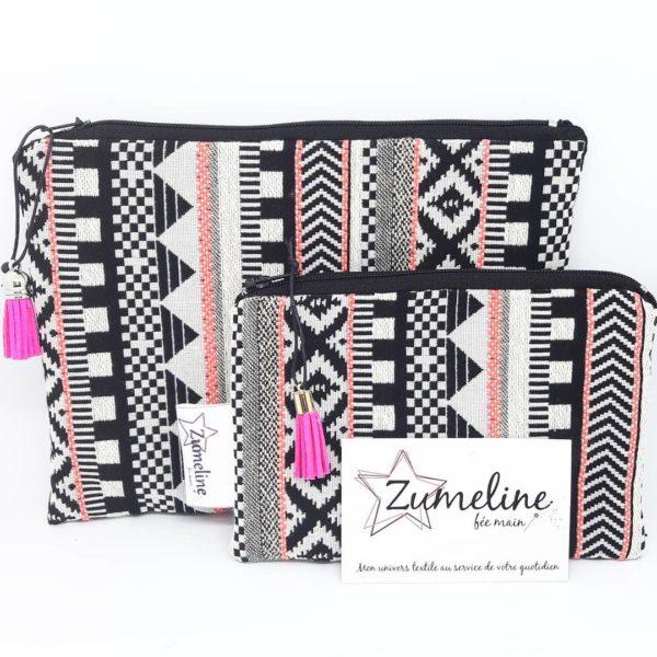 ensemble pochettes zippees ethnique noir blanc fait main zumeline essonne juvisy