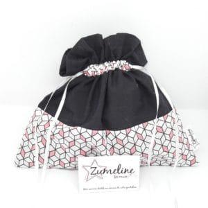 pochette lingerie pochon zumeline fait main noir blanc rose geometrique femme week end