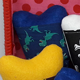 pochette dents de lait dinosaures bleu fait main zumeline