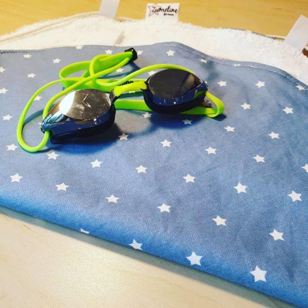 tapis piscine pieds au sec etoiles bleu zumeline fait main juvisy