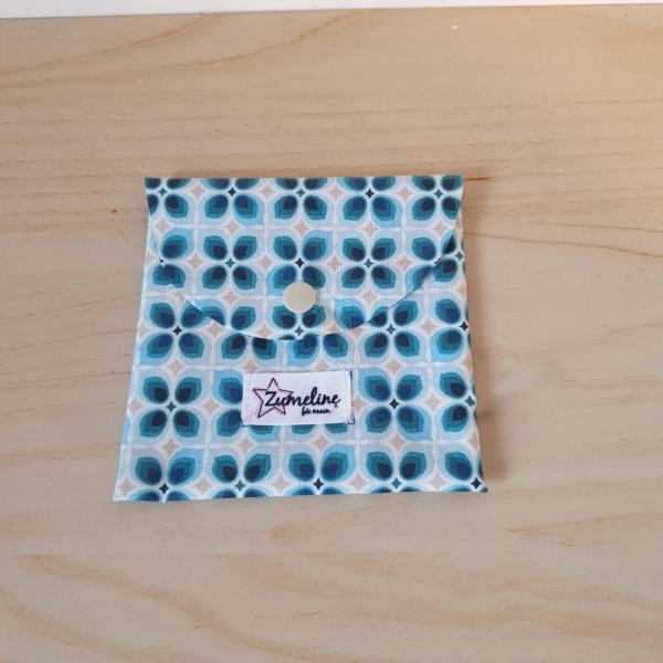 pochette lingettes démaquillantes lavables zéro déchet zumeline bleu géométrique
