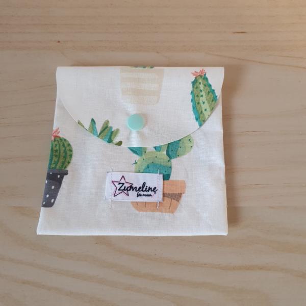 Pochette lingettes démaquillantes lavables zéro déchet zumelline cactus